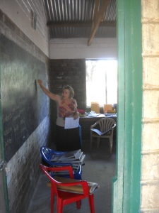 Instruction the old fashioned way--black board and chalk