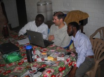 Brad Renuart tutoring teachers on how to use new grading software